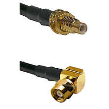 SMC Male Bulkhead on Belden 83242 RG142 to SMC Right Angle Female Cable Assembly