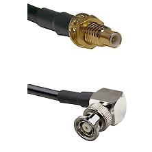 SMC Male Bulkhead on LMR-195-UF UltraFlex to BNC Reverse Polarity Right Angle Male Coaxial Cable Ass