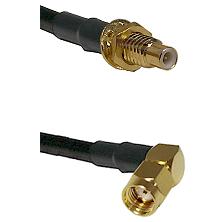 SMC Male Bulkhead on LMR-195-UF UltraFlex to SMA Reverse Polarity Right Angle Male Coaxial Cable Ass