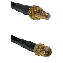 SMC Male Bulkhead on LMR-195-UF UltraFlex to SMA Reverse Polarity Female Cable Assembly