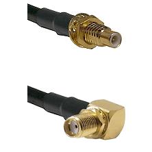 SMC Male Bulkhead on LMR-195-UF UltraFlex to SMA Reverse Thread Right Angle Female Bulkhead Coaxial