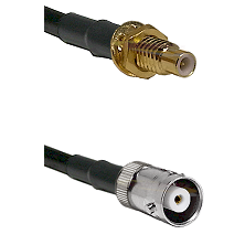 SMC Male Bulkhead on RG142 to MHV Female Cable Assembly