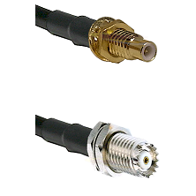 SMC Male Bulkhead on RG142 to Mini-UHF Female Cable Assembly