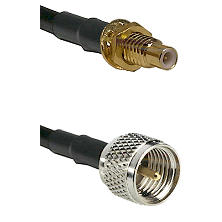 SMC Male Bulkhead on RG142 to Mini-UHF Male Cable Assembly