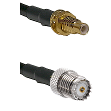 SMC Male Bulkhead on RG58 to Mini-UHF Female Cable Assembly
