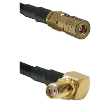 SSLB Female on Belden 83242 RG142 to SMA Reverse Thread Right Angle Female Bulkhead Coaxial Cable As