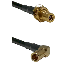 SSLB Female Bulkhead on Belden 83242 RG142 to SSLB Right Angle Female Cable Assembly