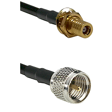 SSLB Female Bulkhead on LMR100 to Mini-UHF Male Cable Assembly