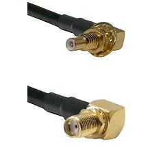 SSLB Male Bulkhead on Belden 83242 RG142 to SMA Reverse Thread Right Angle Female Bulkhead Coaxial C