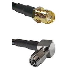 SSMA Female on RG188 to SSMA Right Angle Male Cable Assembly
