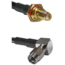 SSMA Female Bulkhead on RG188 to SSMA Right Angle Male Cable Assembly