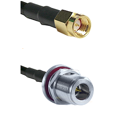 SSMA Male on RG188 to N Reverse Polarity Female Bulkhead Cable Assembly
