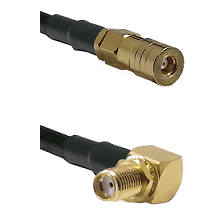 SSMB Female on LMR100 to SMA Reverse Thread Right Angle Female Bulkhead Cable Assembly
