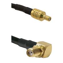 SSMB Male on LMR100 to SMA Reverse Thread Right Angle Female Bulkhead Cable Assembly