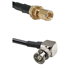SSMC Female Bulkhead on Belden 83242 RG142 to BNC Reverse Polarity Right Angle Male Coaxial Cable As