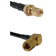 SSMC Female Bulkhead on Belden 83242 RG142 to SSMC Right Angle Female Cable Assembly