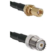 SSMC Female Bulkhead on LMR100 to Mini-UHF Female Cable Assembly