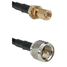 SSMC Female Bulkhead on LMR100 to Mini-UHF Male Cable Assembly