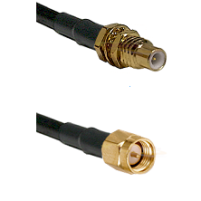 SSMC Male Bulkhead on LMR100 to SMA Male Cable Assembly