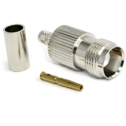 TNC Female for RG58, RG141 LMR195 Crimp 50ohm 11GHz Brass Nickel Connector