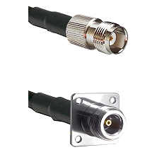 TNC Female Connector On LMR-240UF UltraFlex To N 4 Hole Female Connector Cable Assembly