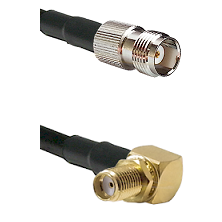 TNC Female Connector On LMR-240UF UltraFlex To SMA Reverse Thread Right Angle Female Bulkhead Connec