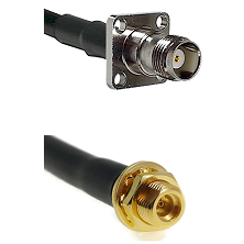TNC 4 Hole Female on LMR100 to MMCX Female Bulkhead Cable Assembly