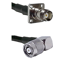 TNC 4 Hole Female on LMR-195-UF UltraFlex to TNC Reverse Polarity Right Angle Male Coaxial Cable Ass
