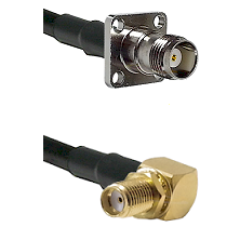 TNC 4 Hole Female on LMR-195-UF UltraFlex to SMA Right Angle Female Bulkhead Cable Assembly