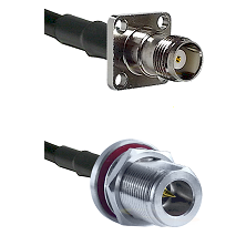 TNC 4 Hole Female on LMR200 to N Reverse Polarity Female Bulkhead Cable Assembly