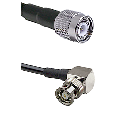 TNC Male on LMR-195-UF UltraFlex to BNC Reverse Polarity Right Angle Male Cable Assembly