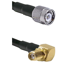 TNC Male on LMR-195-UF UltraFlex to SMA Reverse Thread Right Angle Female Bulkhead Coaxial Cable Ass