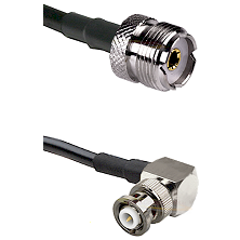 UHF Female on RG58C/U to MHV Right Angle Male Cable Assembly