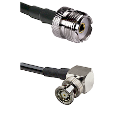 UHF Female on RG58C/U to BNC Reverse Polarity Right Angle Male Cable Assembly
