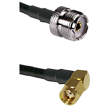 UHF Female on RG58C/U to SMA Reverse Polarity Right Angle Male Cable Assembly