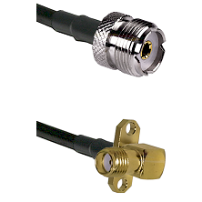 UHF Female on RG58C/U to SMA 2 Hole Right Angle Female Cable Assembly