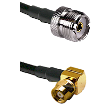 UHF Female on RG58C/U to SMC Right Angle Female Cable Assembly