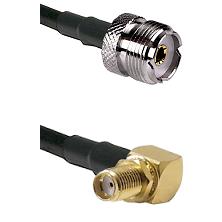 UHF Female on RG58C/U to SMA Reverse Thread Right Angle Female Bulkhead Cable Assembly