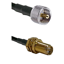 UHF Male on LMR-195-UF UltraFlex to SMA Reverse Polarity Female Bulkhead Cable Assembly