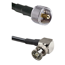 UHF Male on LMR240 Ultra Flex to BNC Reverse Polarity Right Angle Male Cable Assembly