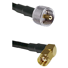 UHF Male on LMR240 Ultra Flex to SMA Reverse Polarity Right Angle Male Cable Assembly