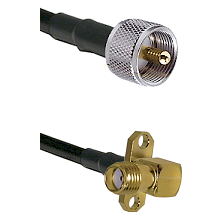 UHF Male on LMR240 Ultra Flex to SMA 2 Hole Right Angle Female Cable Assembly