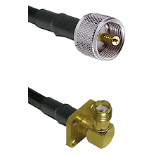UHF Male on LMR240 Ultra Flex to SMA 4 Hole Right Angle Female Cable Assembly