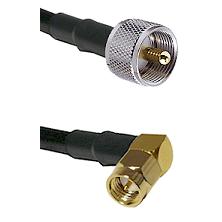 UHF Male on LMR240 Ultra Flex to SMA Right Angle Male Cable Assembly