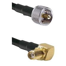 UHF Male on LMR240 Ultra Flex to SMA Reverse Thread Right Angle Female Bulkhead Coaxial Cable Assemb