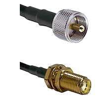 UHF Male on RG400 to SMA Female Bulkhead Cable Assembly