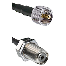 UHF Male On RG400 To UHF Female Bulk Head Connectors Coaxial Cable